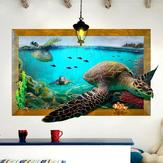 3D Sea Turtle Sala de estar Quarto Animais Floor Home Background Decoração de parede Creative Stickers