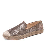 Women Casual Sequined Flowers Pattern Espadrille Flats Loafers