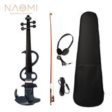 NAOMI Electric Violin 4/4 Electric Silent Violin Full Size Violin Ebony Fretboard +Case-Black