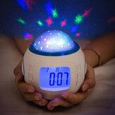 Projetor de luz noturna LED lâmpada quarto alarme digital Relógio com música para crianças