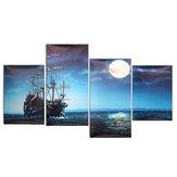 Современный Холст для Печати Живопись Картина Home Decor Blue Sea Лодка Wall Art Бумага в Рамке