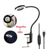 DANIU USB Lupe 3X Tischschraubstock Tischklemme Lupe 42 SMD LED Leuchtet Flexible Schreibtischlampe
