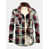 Mens Cotton Plaid Thicken Fleece Lined Shirt Jacket With Pocket