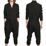 Mens Loose Causal Overalls Long Sleeve Jumpsuit Comfortable Spring Autumn Dungarees Trousers Pants