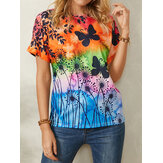 Women All Over Butterfly Print Round Neck Casual Short Sleeve T-Shirts