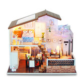DIY Miniature Dollhouse Wooden Modern House Toy Assemble Wooden Doll Cottage Model Christmas Handmade by Children Gift