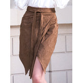 Women Solid Color High Waist Irregular A-line Skirt