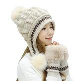 Damen Doppelschicht Fleece Ski Caps Handschuhe Set