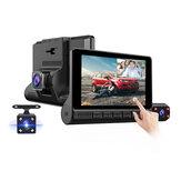 E-ACE 4 polegadas com tela de toque para carro DVR 3 câmeras Lente Gravador de vídeo FHD 1080P Auto Dash Cam Suporte para câmera de visão traseira