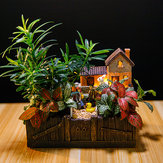 Lighting Tuscany's Cabin Flower Pot Craft Ornaments Magic Lantern House Planter Bonsai