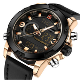 NAVIFORCE NF9097 Fashion Men Dual Display Watch Luxury Leather Strap Sport Watch