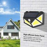 76/120 COB LEDソーラー電源PIRモーションセンサーウォールライト4面屋外ガーデンランプ