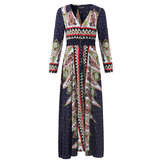 OEUVRE Bohemian Women V-Neck Printed Beach Party Maxi Dress