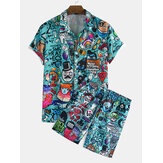Mens grappig graffiti karakter cartoon print korte mouw causla shorts shirts