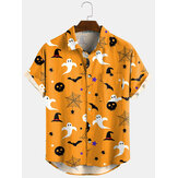 3 kleuren Halloween Cartoon Print Turn Down Collar korte shirts