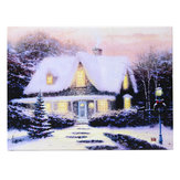 40 x 30cm Operated Christmas LED Snowy Cottage Xmas Canvas Print Wall Art