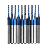 Drillpro 10pcs 1.7-2.0mm Blue NACO Coated PCB Bit Carbide Engraving Milling Cutter For CNC Tool Rotary Burrs