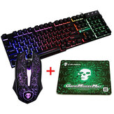 Colorful Baggrundsbelysning USB Wired Gaming Keyboard 2400DPI LED Gaming Mouse Combo med musemåtte