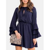 Women Solid Color Ruffled Sleeves Dress