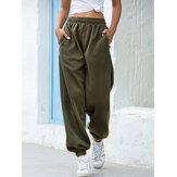 Mulheres casual cintura elástica bolso solto Calças