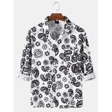 Mens Paisley Print Print Button Up Ethnic Style Long Sleeve Shirts