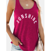 Letter Print O-neck Sleeveless Vest Causal Tank Tops