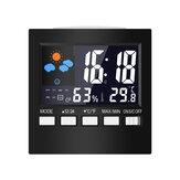 Multifunctional Color LCD Screen Temperature Hygrometer Weather Calendar Week Time Alarm Clock