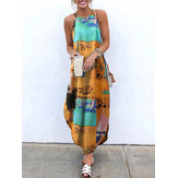 Women Retro Sleeveless Straps High Low Hem Floral Print Maxi Dress