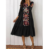 Ethnic Women V-neck Long Sleeve Floral Print Holiday Bohemian Pleated Maxi Dress