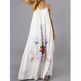 Femmes Bohème Floral Sans Manches Swing Hem A Line Long Maxi Dress
