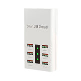 6 Port 30W Smart USB Charger Power Adapter LED Display Station  Fireproof Intelligent Charger Universal 100-240V 2A