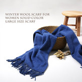 LYZA 200CM Women Winter Wool Sjaal Solid Large Size Sjaal en Shawl Blanket Dual Use