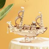 Robotime TG307 Comunicação Barco 3D Puzzle DIY Hand-montado Madeira Sailing Model Toy