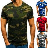メンズカジュアルTシャツ通気性の薄い半袖迷彩デジタル印刷ラウンドネックトップハイキング釣りトレーニング