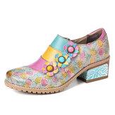 حذاء SOCOFY بوهيمي بلوم من الجلد الطبيعي مزين بالزهور متعدد الألوان منقوش بالزهور
