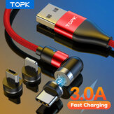 TOPK 3A 3-in-1 USB για Lightning Type-C Micro USB Magnetic Data Cable 360º + 180º Rotating Fast Charging For iPhone 12 Pro Max Mini Huawei P30 P40 Mate 40 Pro OnePlus 8Pro 8T
