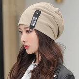 Damska bawełna utrzymująca ciepło na zewnątrz moda zimowa Casual solidna podwójna czapka z dzianiny