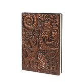 Livro de registro do diário do Seaworld em relevo A5 Couro em relevo Diário de viagem Livro de mão Presente de aniversário Papelaria
