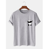 Cartoon Panda Print 100% Baumwolle Casual Kurzarm T-Shirts
