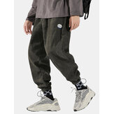Mens Corduroy Cotton Solid Casual Drawstring Harm Pants With Draw Cords