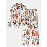 Ensemble de pyjama décontracté à manches longues pour femmes en coton imprimé animal