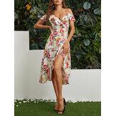 Yarık Etek Rastgele Çiçek Baskı Kapalı Omuz Casual Midi Elbise