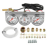 2 بوصة 52mm النفط الضغط المياه Temp Amp Meter Triple Gauge 3 in 1 Set Chrome Panel
