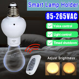 E27 Smart Wireless Light Bulb Adapter Voice Control Lamp Holder Timing Cap Socket Switch + Remote Control 85-265V