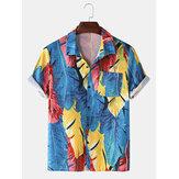 Mens Óleo Pintura Tropical Leaves Print Turn Down Collar Manga curta Holiday Praia Camisas