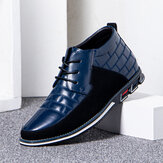 Men Round Toe Comfy Soft Sole Lace-up Business Casual Leather Ankle Boots