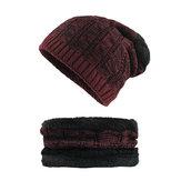 Men Winter Wool Weaving Skullcap Plus Neck Warmer Two Units