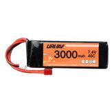 URUAV 7.4V 3000mah Bateria 40C T Plug Peça de carro RC para WLtoys 144001/124018/124019