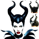 Halloween Costume Queen Horns Hat Magic Black Queen Witch Headgear Halloween Masquerade Party Props