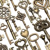 130pcs Antique Bronze Brass Vtg Encarnado Esqueleto Keys Lot Pingente Fantasia Coração Pingentes Presente Chave